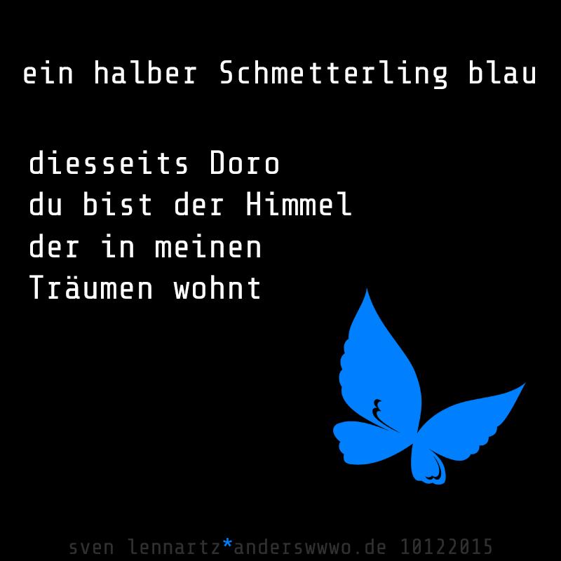 ein halber Schmetterling blau